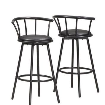 Black Swivel Bar Stool (Set Of 2)