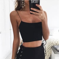 2017 hot summer women's new solid color cotton sling exposed umbilical halter [11677689551]