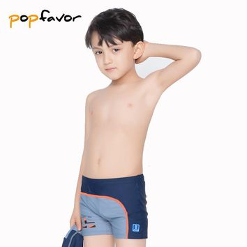 POPFAVOR Brand Children's Swimming Trunks with Swimming Cap Professional Boy Sunga Swimming Shorts Boys Swimsuit Boxer Briefs