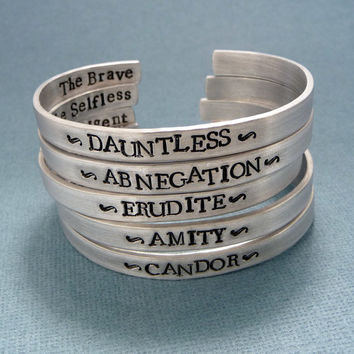 Divergent Inspired - Faction - Divergent, Dauntless, Abnegation, Amity, Candor or Erudite - CHOOSE ONE Double Sided Aluminum Bracelet