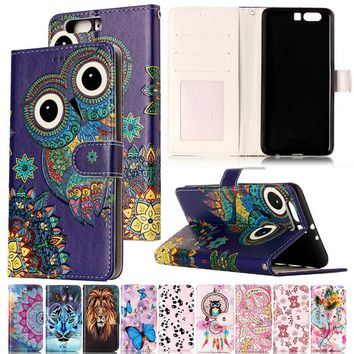 Varnish Relief Leather Case For Huawei P10 P10 lite Cover Leather Flip Wallet Phone Case For Huawei P10 Plus Mobile Phone Shell