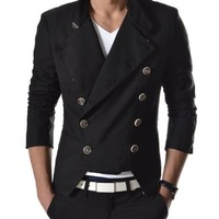 TheLees Mens Casual Double Breasted High neck Slim fit Short Jacket