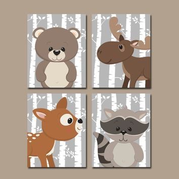 WOODLAND Animals Wall Art, Woodland Nursery Decor, Birch Tree Wood Forest Animals,CANVAS or Print,Deer Bear Moose Raccoon, Set of 4 Pictures