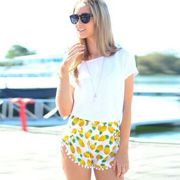 Yellow Pineapple Print Shorts with Fringe