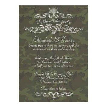 Simple Luxury Camo Wedding Invitations