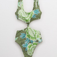 Aerie Cutout One Piece Swimsuit, Olive Fun
