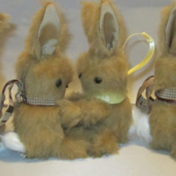 Collectable Retro Vintage Light Brown Plush Baby Bunnies ideal for Easter Baskets, Showers and Safe Pram Toys