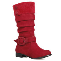 Red Retro Mid-Calf Boots With Suede and Buckle Design