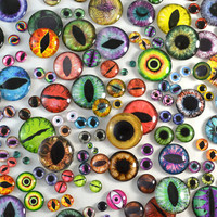 Glass Eye Overstock Wholesale Lot 10 Cabochons in Random Designs - Choose Size 6mm 8mm 10mm 16mm 25mm 30mm - For Taxidermy or Jewelry Making
