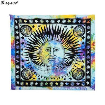 VONESC6 Trendy Celestial Sun Hippy Tapestry Wall Hanging Throw Boho Window Doorway Curtain Beach Bikini Cover Up Shawl Pashmina Aug18