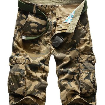 Summer 2017 Outdoor Sport Army military Climbing camping Hiking Men shorts cotton camouflage cargo shorts Multi-pocket loose