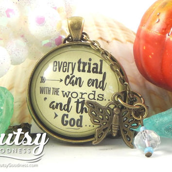 Every Trial Can End With Words 'And Then God' Encouragement Gift for Hard Things--Job Loss, Break Up Survivor Necklace