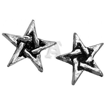 Pentagram Studs Earrings by Alchemy Gothic, England