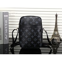 """Louis Vutitton×Supreme"" Unisex Fashion Classic Tartan Retro Logo Print Single Shoulder Messenger Bag Small Square Bag"