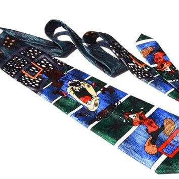 Oilers Vintage NFL Tie, 1993 Handmade Surrey Necktie, Warner Bros Looney Tunes Cartoon, Tasmanian Devil, Daffy Duck Novelty Neckwear