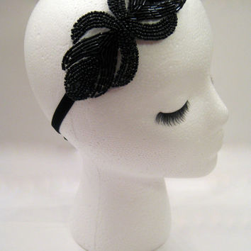 The Rita - black art deco Gatsby headband, 1920s headpiece, flapper headpiece, prom hair piece, Prohibition party, 1930s headband