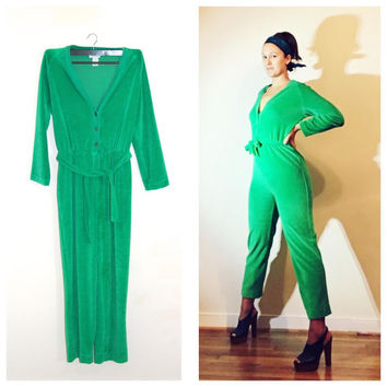 Green Terrycloth Jumper Long Sleeve Jumpsuit Romper Cozy Comfy Retro Fabulous 1970s Playsuit size Medium