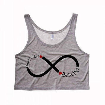 NEW - Dual Infinity Directioner Belieber Cropped Tank Top
