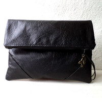 Vegan Clutch, handbag, fold over clutch,Black FAUX LEATHER,minimalist desing.Basic and chic.
