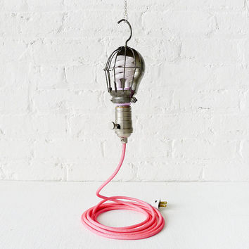 Vintage Trouble Cage Light - Pretty In Industrial Pink Lamp w/ Neon Pink Net Color Cord