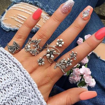 RAVIMOUR 4pcs Bague Femme Vintage Knuckle Rings for Women Turkish Big Flower Leaf Midi Finger Ring Set Boho Punk Jewelry