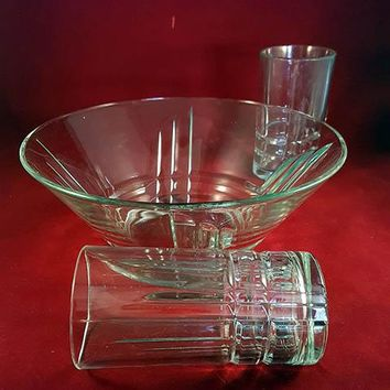 Luminarc Arizona Art Deco Large Serving Bowl, 2 Large Glasses