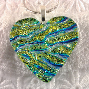 Dichroic Heart Pendant Fused Glass Jewelry by AngelasArtGlass