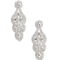 Sale- Silver Rhinestone Loop Chandelier Earrings