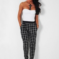 Matrix Grey & Black Leopard Print Harem Style Stretch Pants | Pink Boutique