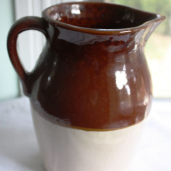 Vintage Two-Tone Brown and Beige Primitive Earthen Pitcher