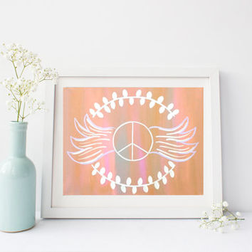 Peace sign with wings orange print, wall art print poster for baby nursery, girls room, apartment, dorm room, or home decor