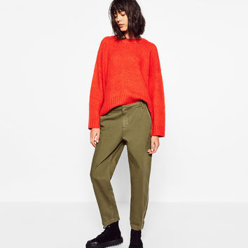 MILITARY TROUSERS WITH TURN-UP CUFFS DETAILS