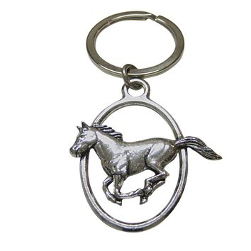 Running Horse Oval Key Chain