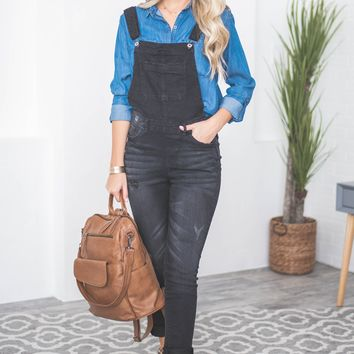 Hailee Denim Stretch Overalls | Black