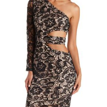 Black Combo One Shoulder Cut-Out Lace Dress by Charlotte Russe