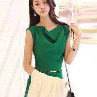 Green Sleeveless Belted Bodycon Mini Dress