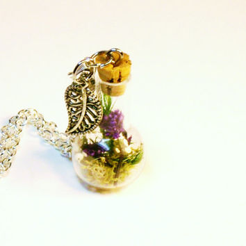 Mini Glass Bottle Necklace Fairy Garden Terrarium  Pendant