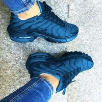 NIKE Air Max Plus Tn Ultra Wave Print Women Men Sneakers Fashion Shoes Navy blue