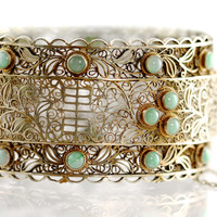 Silver Filigreee Jade Hinged Bangle Bracelet