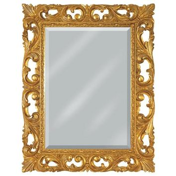 GM Luxury Puglia Rectangular Decorative Wall Art Mirror for Elegan Design, Gold Leaf 29.5x37.4