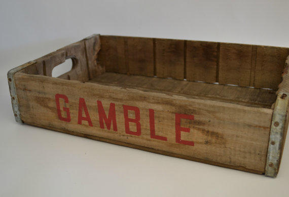 Vintage Wooden Gamble Beverage Crate From