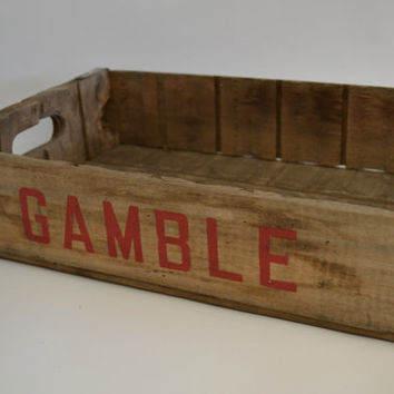 Vintage Wooden Gamble Beverage Crate Antique Portland Salem Wood