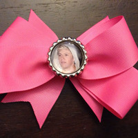 Pink Hair Bow with Niall Horan Bottle Cap by OhSoCr8tive on Etsy