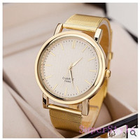 Quartz Casual watch Fashion Bright Gold band Women wristwatches Brand New Metal Mesh Stainless Steel watches (Color: Golden) = 1956927876