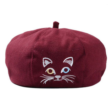 Kitty Embroidered Woolen Beret Hat