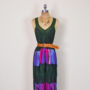 Vintage 90s 70s Green Tie-Dye Dress India Dress Gauze Dress Crochet Dress Maxi Dress Sundress Hippie Dress Hippy Dress Boho Dress S M L XL