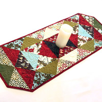 Christmas Quilted Table Runner - Figgy Pudding by Basic Grey for Moda Table Runner, Triangles Holiday Table Runner Quilt, Quiltsy Handmade