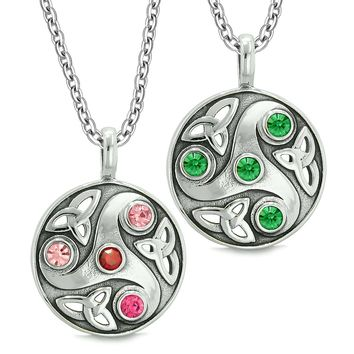 Goddess Celtic Triquetra Amulets Love Couples Best Friends Royal Red Green Pink Pendant Necklaces