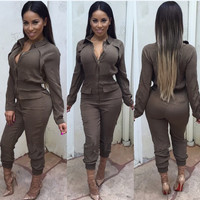 Khaki Long Sleeves Elastic Waist Lapel Jumpsuit
