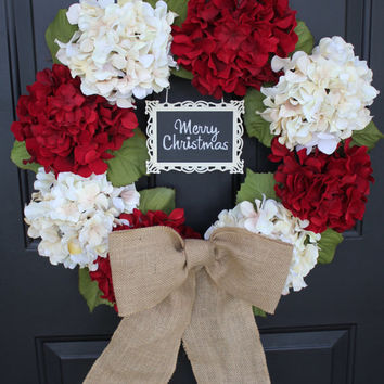 Red and White Hydrangea Christmas Wreath, Metal framed CHALKBOARD - Write you own Greeting, Holiday Wreath Tied with a  Burlap Bow